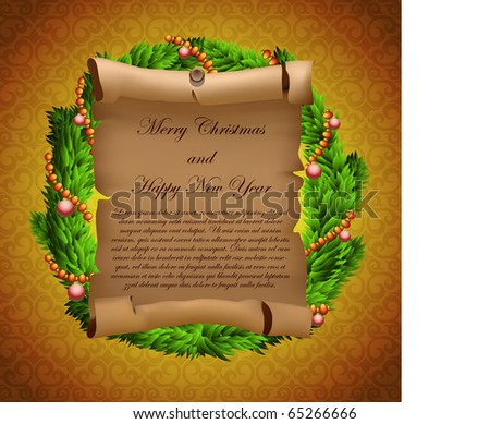 Christmas wreath with paper manuscript (vector background)