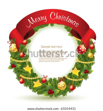 Christmas wreath with Red Ribbon.