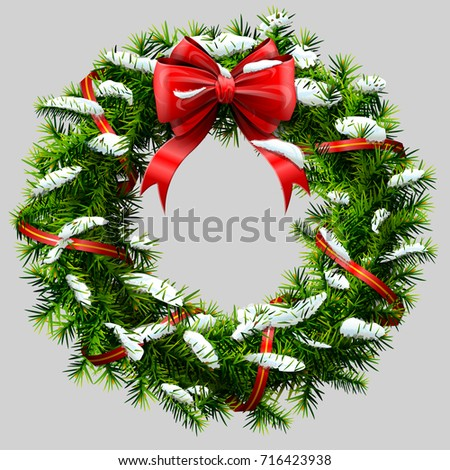 Christmas wreath with red ribbon and snow. Decorated wreath of pine branches after snowfall. Vector image for new years day, christmas, winter holiday, decoration, new years eve, design, silvester