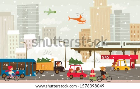 Christmas, xmas eve people rush with presents and christmas trees. Winter city mood picture with public transport and people. stock photo