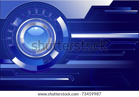 chrome abstract movement with blue transparent lens on a dark blue background.