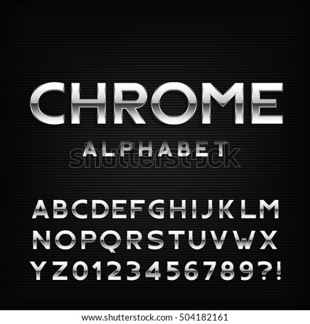 chrome alphabet font metal