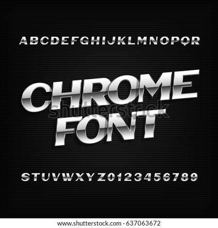 chrome alphabet font metal