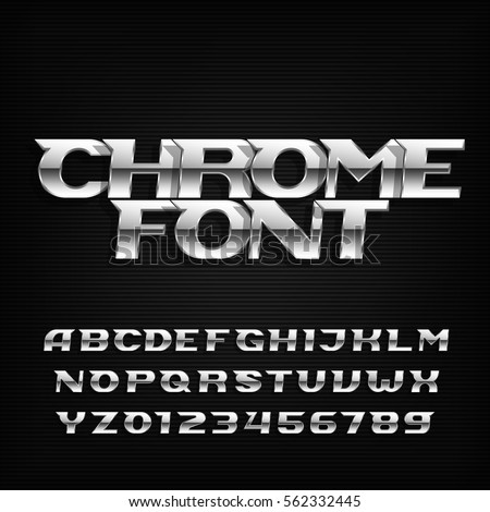 chrome alphabet font metallic