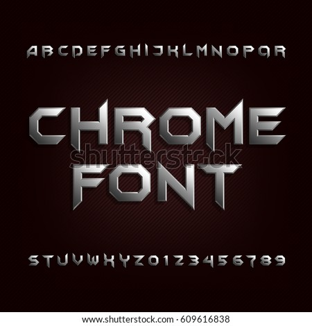 chrome alphabet font metallic