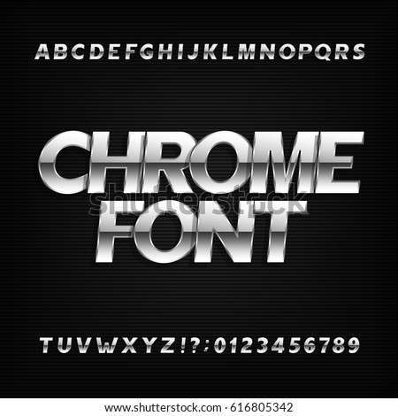 Chrome alphabet font. Metallic effect sans serif letters and numbers on a dark background. Stock vector typography for your design.