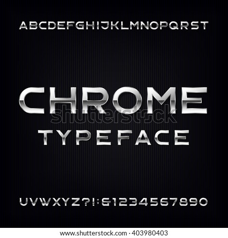 Chrome Alphabet Font. Modern metallic letters and numbers on the dark background. Stock vector typeface for your design.