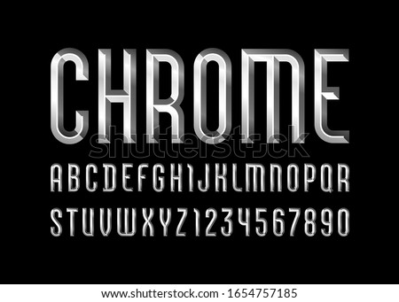 Chrome alphabet from chiseled block, font with effect of metallic, beveled letters and numbers, vector illustration 10EPS for you design Stock photo ©