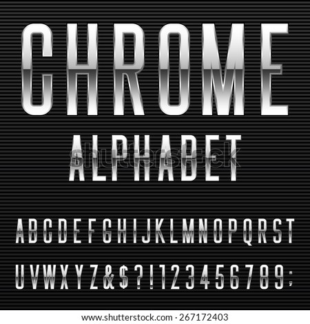 Chrome Alphabet Vector Font. Type letters, numbers and punctuation marks. Metal effect letters on dark background.