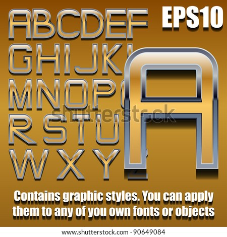 chrome and gold alphabet eps10 (hand drawn font contains graphic styles available in Illustrator 10 + You can apply these styles to any of you own fonts or objects)
