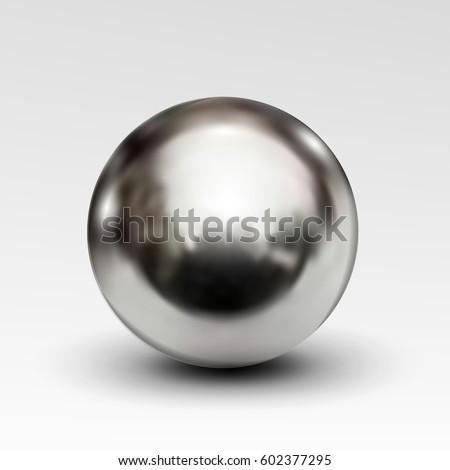 Chrome ball realistic isolated on white background. Spherical 3D orb with transparent glares and highlights for decoration. Jewelry gemstone. Vector Illustration for your design and business.