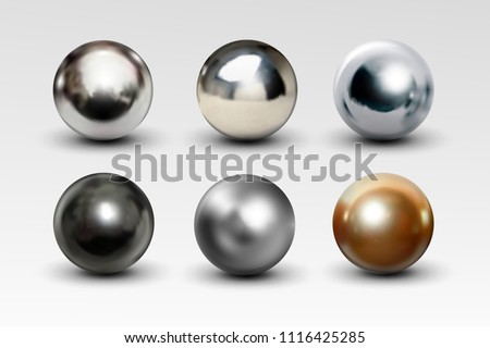 Chrome ball set realistic isolated on white background. Spherical 3D orb with transparent glares and highlights for decoration. Jewelry gemstone. Vector Illustration for your design and business.