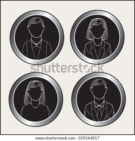 chrome buttons with the people face