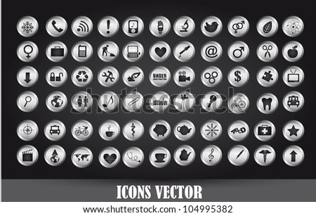 chrome icons over black background. vector illustration