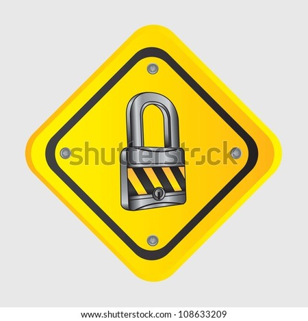 chrome lock with caution tape over road sign