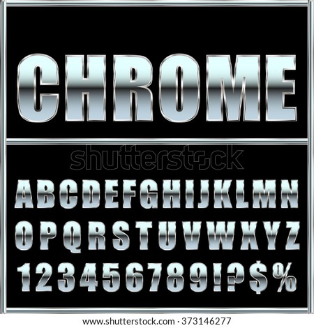 chrome metal font and symbols