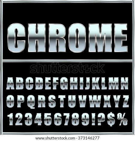 chrome metal font and symbols