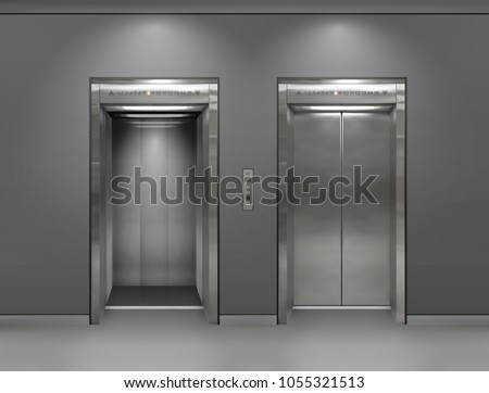 Chrome metal office building elevator doors. Open and closed variant. Realistic vector illustration gray wall panels office building elevator.