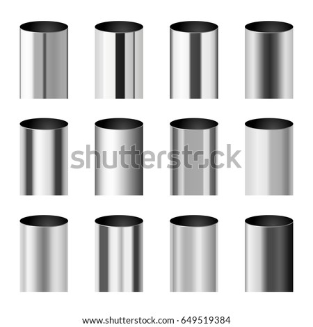 Chrome metal polished gradients corresponding to cylinder pipe vector set