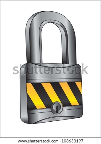 chrome padlock with caution tape