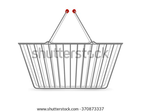 Chrome plated wire metal double handles square empty shopping basket realistic image pictogram vector illustration