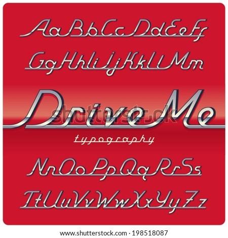 chrome vintage font on red car