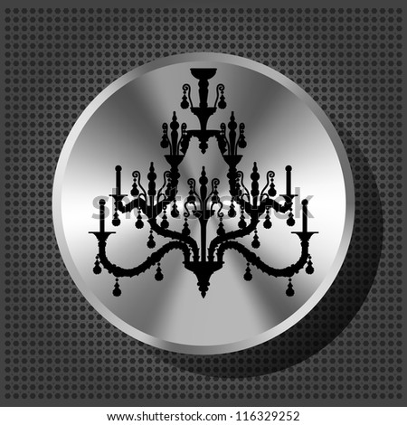 Chrome volume knob with silhouette of luxury chandelier on the metallic background