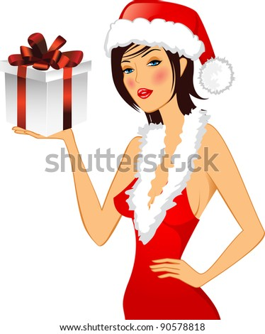 Chrstmas card. Girl in a hat. Vector illustration.