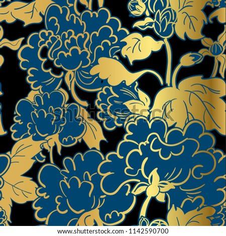 chrysanthemum flower vector japanese chinese seamless pattern design gold black