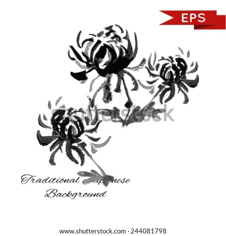 Chrysanthemum ink illustration. Sumi-e vector image.