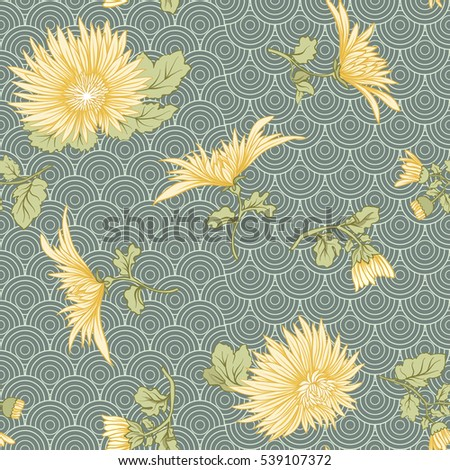 chrysanthemum seamless pattern