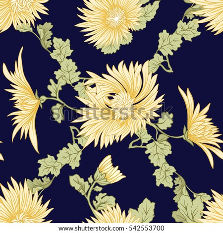 chrysanthemum seamless pattern