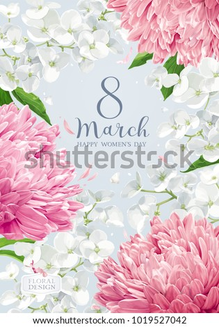 Chrysanthemums and Apple blossom for 8 March. Flower vector greeting card in watercolor style with lettering design