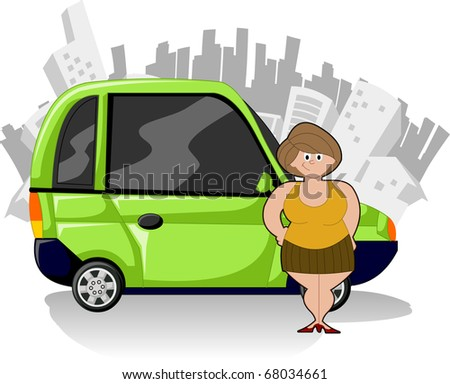 Chubby cartoon woman with green compact car and city on the background