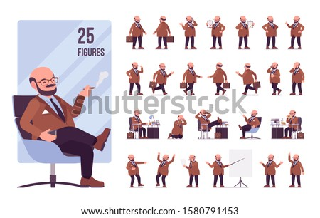 Chubby heavy man with a belly character set. Overweight and fat body shape, middle aged bold guy. Big men fashion, plus size formal wear. Full length, different views, gestures, emotions and poses Stock foto ©