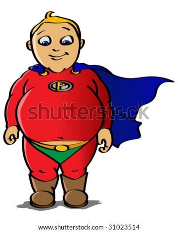 chubby superhero - stock vector