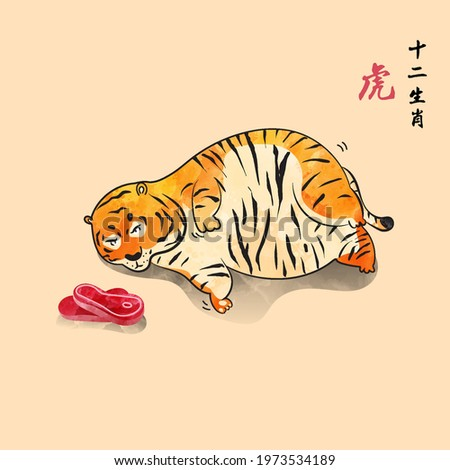 Chubby tiger want to eat meats but he can't walk chinese style new year of tiger cute and fun wild animal vector illustration watercolor feeling chinese translate is tiger 12 zodiac.