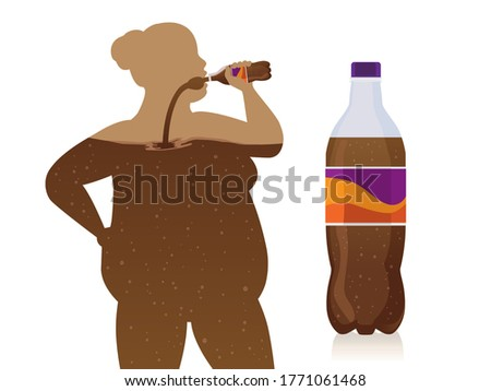 Chubby women drink soft drinks from bottle flow into the body with carbonated drinks bottle. Concept Illustration about an unhealthy lifestyle with artificial sweeteners of fizzy drinks. Stock foto ©