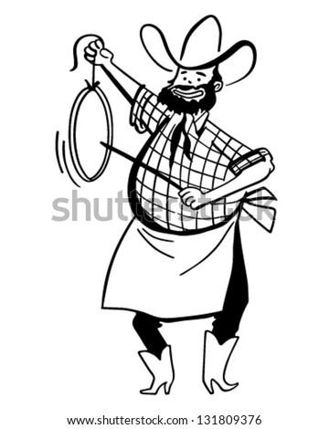 Chuck Wagon Cook - Retro Clip Art Illustration