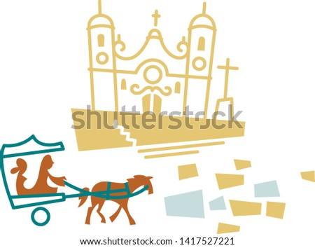 Church and horse carriage in Ouro preto, Minas Gerais
