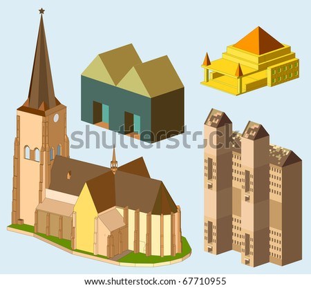 church and roman building isometric