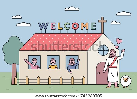 Church building background. The children are waving their hands at the window. Jesus is greeting in front of the church. flat design style minimal vector illustration.
