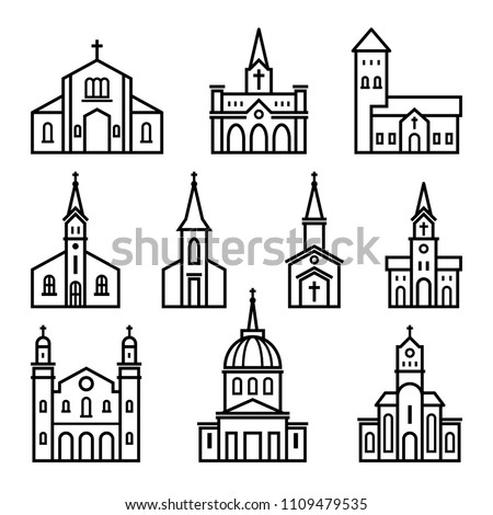 church , building icon in linear style