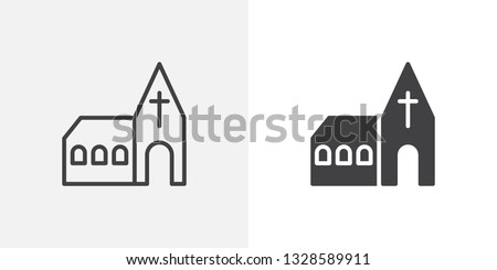Church building icon. line and glyph version, outline and filled vector sign. Monastery linear and full pictogram. Symbol, logo illustration. Different style icons set ストックフォト ©