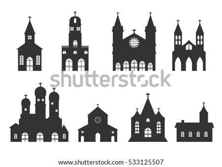 church building iconset vector