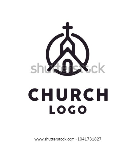 Church / Christian with hipster line art style logo design inspiration