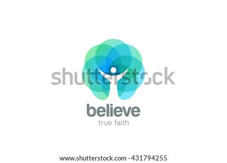 Church Faith Logo Pray Religion abstract design vector template. Religious Monk Belief Christian Logotype concept icon Negative space style.