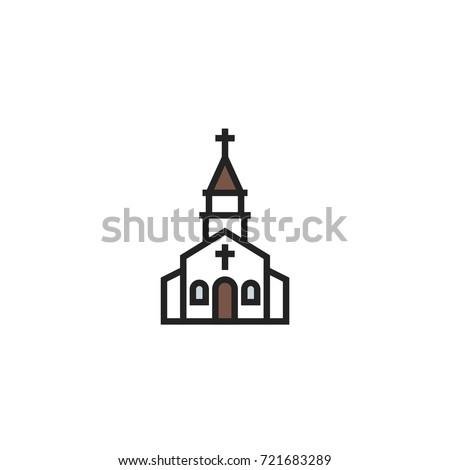 church icon vector isolated