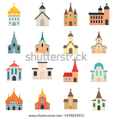 church icons set flat set of