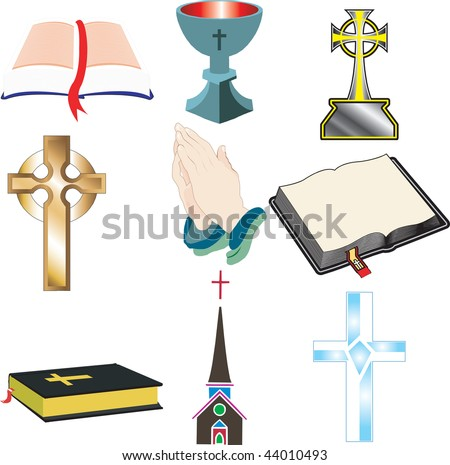Church Icons 2 Vector, Illustration of 9 church/Christian icons.